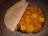Indická kuchyně  rychlé Aloo gobi aur mater (brambory s květákem ...