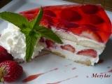 Nepečený tvarohovo-pudinkový dortík s jahodami a želé recept ...