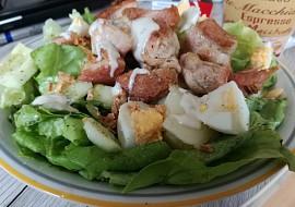 Letní salát s vejcem a křupavým krůtím masem recept