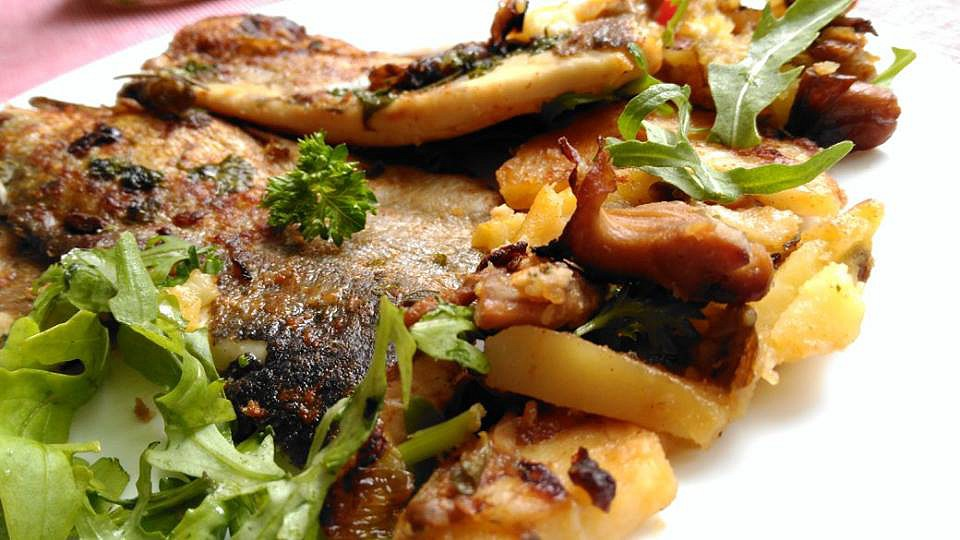Pstruzi, zapečení s hlívou a brambory recept