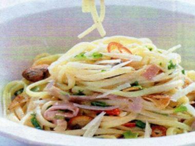 Špagety se šunkou a parmazánem