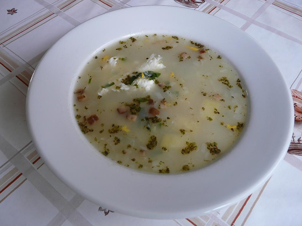 Loštická česnečka s vejcem recept