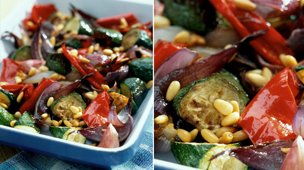 Pečená zelenina s piniemi