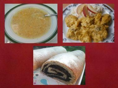 Oběd 17  Kuřecí polévka, kuře na kari a makovka