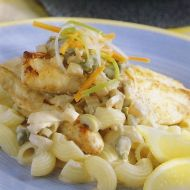 Macaroni s mořským okounem recept