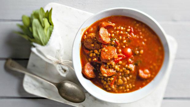Čočková polévka s chorizem