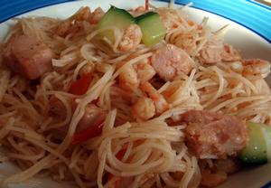 Krevety s rýžovými nudlemi