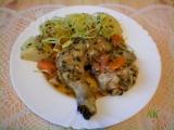 Kuře na víně, houbách a zelenině recept