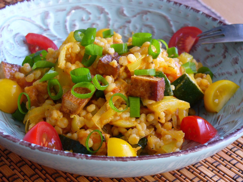 Čirok se zeleninou a tofu recept