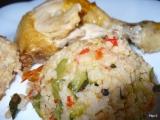 Pečené kuře na zeleninovo-rýžovém lůžku recept