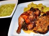 Kuře na houbách s játrovou nádivkou a okurkovým salátem recept ...