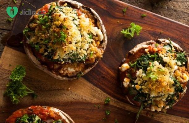 Houby  plněné špenátem, chlebem, česnekem a bylinkami recept
