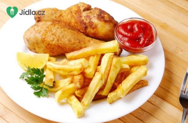 Recept Pečený kuřecí stehýnka s hranolkami