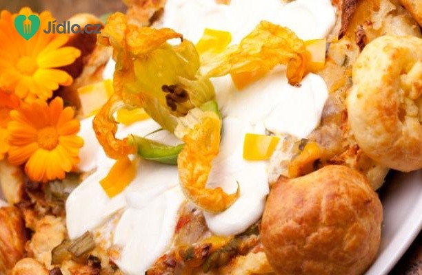 Smažené květy cukety plněné sýrem mozzarella recept