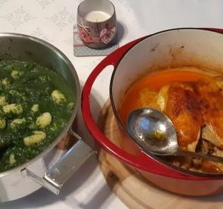 Pečené kuře a gnocchi se špenátem