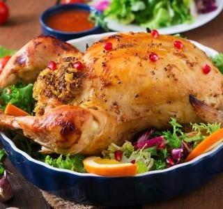 Pečené kuře s nádivkou z těstovin